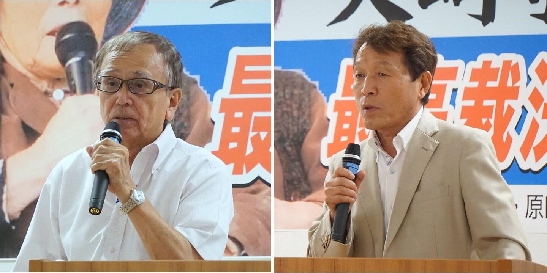 集会には再審で無罪が確定した冤罪被害者も駆けつけた。「足利事件」の菅家利和さん(左)、「布川事件」の桜井昌司さん(2019年7月23日、編集部撮影、都内)