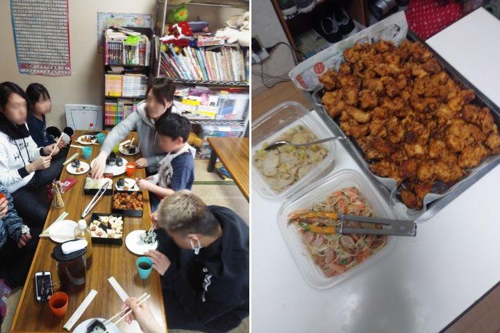 5月26日に再開した「まいにち子ども食堂高島平」(左)、学校休業中の3月20日の様子