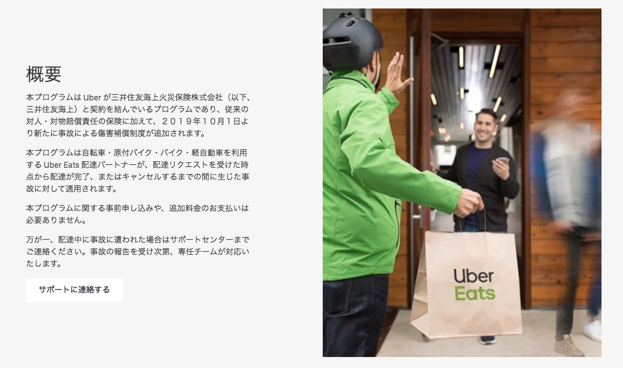 ウーバーイーツのHPより(https://www.uber.com/jp/ja/drive/insurance/)