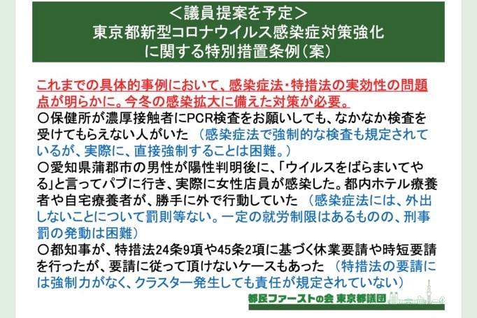 東京都新型コロナウイルス感染症対策強化に関する特別措置条例(案)に対する意見募集(https://docs.google.com/forms/d/e/1FAIpQLSeyvM9MiGCw2MYD8lCelWScVb5kC7oyO845HwkwnDpGfYb9Rw/viewform?gxids=7757)