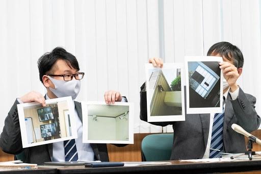 原告代理人らは、湘南校内部で撮影された監視カメラや窓の格子の写真を示した(撮影・加藤順子)